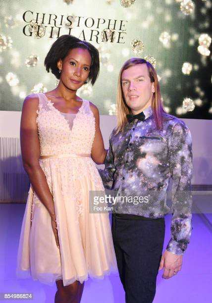 Miss france 2003 Corinne Coman and Christophe Guillarme attend the Christophe Guillarme Show as part of the Paris Fashion Week Womenswear...