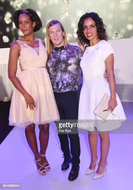 Miss france 2003 Corinne Coman Christophe Guillarme and TV presenter Laurence Roustandjee attend the Christophe Guillarme Show as part of the Paris...