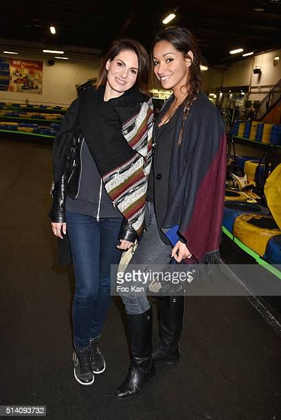 Miss France 2004 Laetitia Bleger and Miss France 2005 Cindy Fabre attend 'Une Course pour La Vie' Gregory Lemarchal association at Paris Kart Indoor...