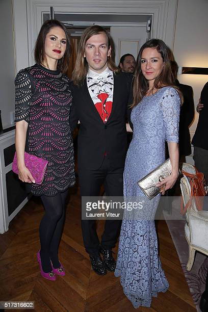 Miss France 2004 Laetitia Bleger Designer Christophe Guillarme and Actress Emmanuelle Boidron attend 'Blue Angles Suite' Launch Party at Hotel...