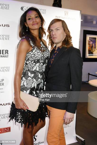 Miss France 2005 Cindy Fabre and Christophe Guillarme attend the Christophe Guillarme show as part of the Paris Fashion Week Womenswear Fall/Winter...