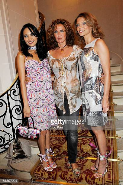 Miss France 2008 Valerie Begue Natacha Amal and Miss France 2002 Sylvie Tellier attend the Emilio Pucci Show Cocktail Party at the Plazza Athenee...