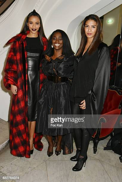 Miss France 2009 Chloe Mortaud Aissa Maiga and Miss France 2014 Flora Coquerel attend the Jean Paul Gaultier Haute Couture Spring Summer 2017 show as...