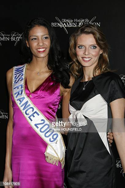 Miss France 2009 Chloe Mortaud and Sylvie Tellier in Paris France on January 22 2009