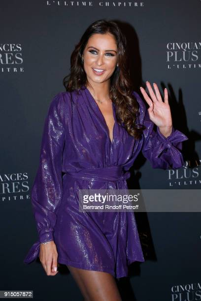 Miss France 2010 Malika Menard attends the 'Fifty Shades Freed 50 Nuances Plus Clair' Paris Premiere at Salle Pleyel on February 6 2018 in Paris...
