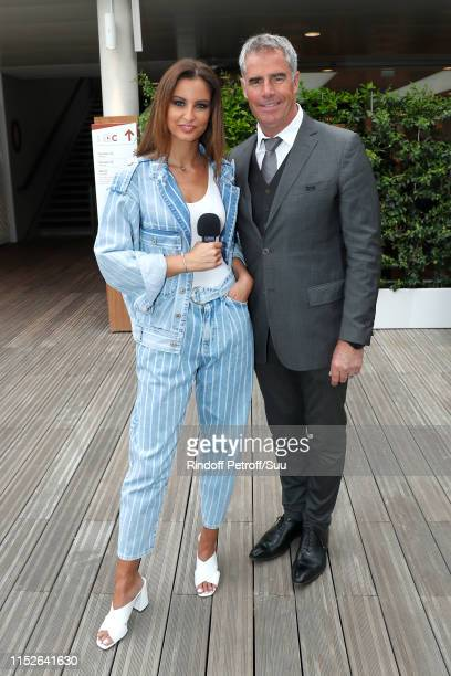 """Miss France 2010 Malika Menard, who presents the web show """"e-Mag 360 VR"""" and Animator of the tournament Marc Maury attend the 2019 French Tennis Open..."""