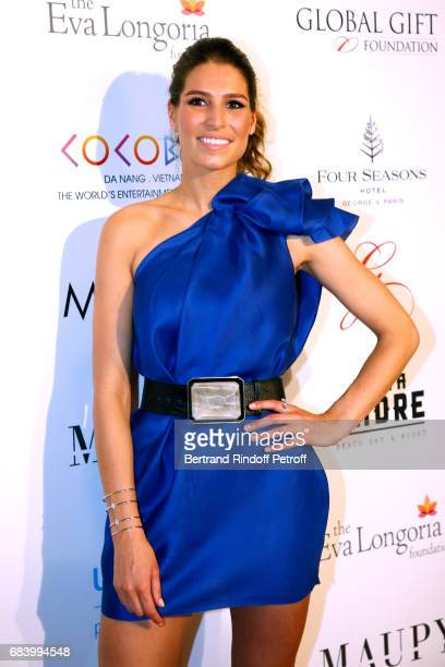 Miss france 2011 Laurie Thilleman attends the Global Gift the Eva Foundation Gala Photocall at Hotel George V on May 16 2017 in Paris France