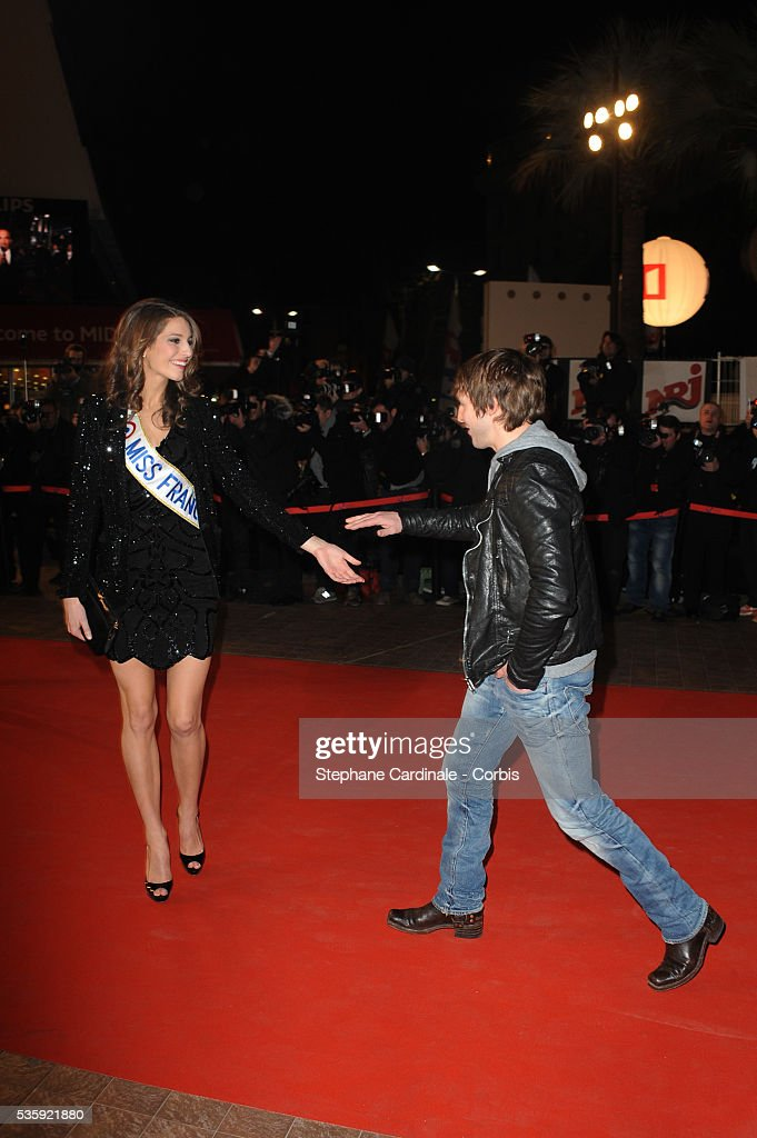 Miss France 2011 Laury Thilleman and James Blunt attend the NRJ Music Awards 2011 at the 'Palais des Festivals et des Congres' in Cannes.