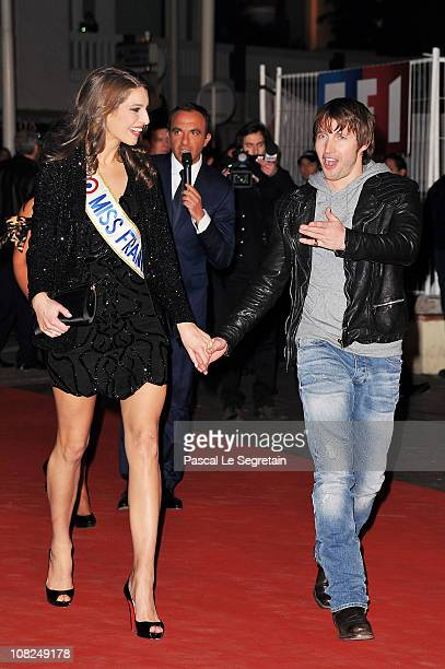 Miss France 2011 Laury Thilleman and singer James Blunt attend the NRJ Music Awards 2011 on January 22 2011 at the Palais des Festivals et des...