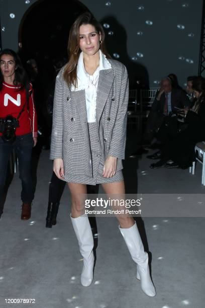 Miss France 2011 Laury Thilleman attends the Alexis Mabille Haute Couture Spring/Summer 2020 show as part of Paris Fashion Week on January 21 2020 in...