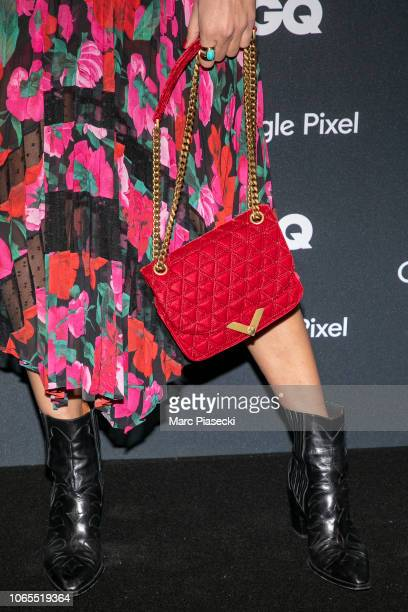 Miss France 2011 Laury Thilleman handbag and shoe detail attends GQ Men Of The Year Awards 2018 at Centre Pompidou on November 26 2018 in Paris France