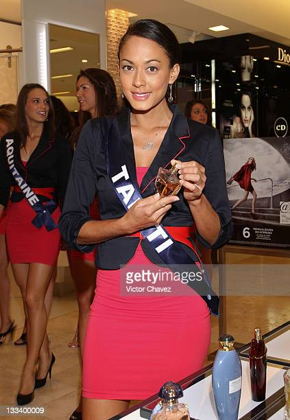 Miss France 2012 contestant Miss Tahiti Rauata Temauri attends a photocall at Saks Fifth Avenue Plaza Carso on November 11 2011 in Mexico City Mexico