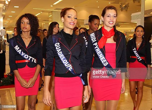 Miss France 2012 contestants Miss Mayotte Aicha Ahmed Bachir Miss Guadeloupe Cindy Lepape Miss Midi Pyrenees Laura Madelain and Miss Tahiti Rauata...