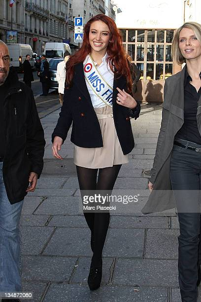 Miss France 2012 Delphine Wespiser and Sylvie Tellier are sighted leaving the 'Europe 1' radio station on December 5 2011 in Paris France