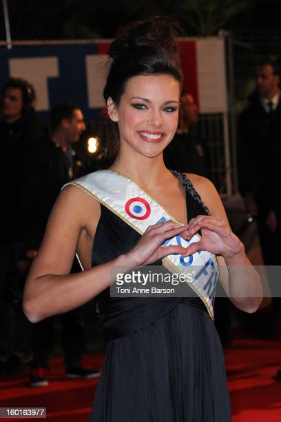 Miss France 2013 Marine Lorphelin arrives at the NRJ Music Awards 2013 at Palais des Festivals on January 26, 2013 in Cannes, France.