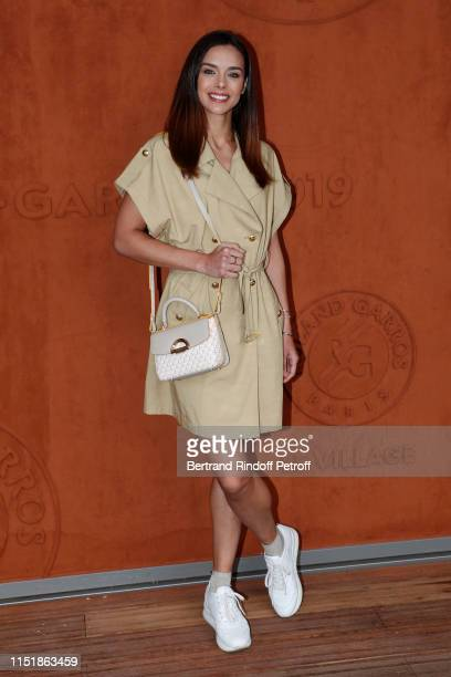 Miss France 2013 Marine Lorphelin attends the 2019 French Tennis Open Day One at Roland Garros on May 26 2019 in Paris France