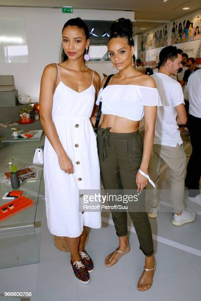 Miss France 2014 Flora Coquerel and Miss France 2017 Alicia Aylies attend the 2018 French Open Day Eight at Roland Garros on June 3 2018 in Paris...