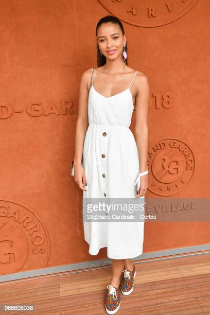 Miss France 2014 Flora Coquerel attends the 2018 French Open - Day Eight at Roland Garros on June 3, 2018 in Paris, France.