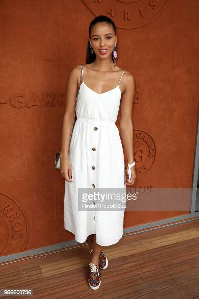 Miss France 2014 Flora Coquerel attends the 2018 French Open Day Eight at Roland Garros on June 3 2018 in Paris France
