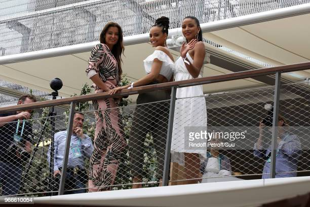 Miss France 2013 Flora CoquerelMiss France 2017 Alicia Aylies and Miss France 2010 Malika Mesnard attend the 2018 French Open Day Eight at Roland...
