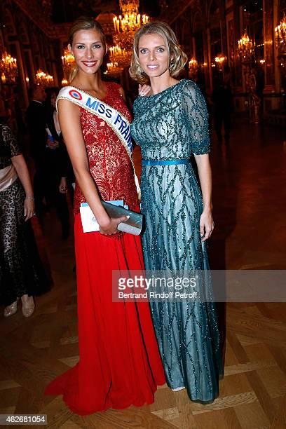 Miss France 2015 Camille Cerf and CEO of Miss France Company Sylvie Tellier attend the David Khayat Association 'AVEC' Gala Dinner Held at Versailles...