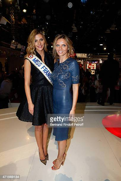 Miss france 2015 Camille Cerf and Sylvie Tellier attend the 'Vivement Dimanche' French TV at Pavillon Gabriel on April 29 2015 in Paris France