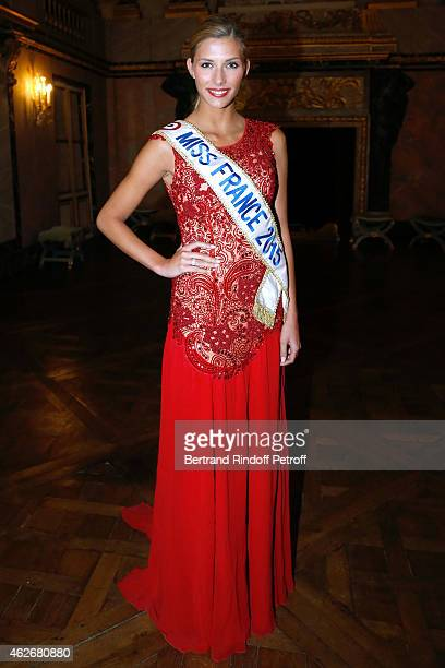 Miss France 2015 Camille Cerf attends the David Khayat Association 'AVEC' Gala Dinner Held at Versailles Castle on February 2 2015 in Versailles...
