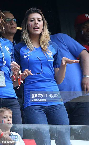 Miss France 2015 Camille Cerf attends the UEFA Euro 2016 semifinal match between Germany and France at Stade Velodrome on July 7 2016 in Marseille...