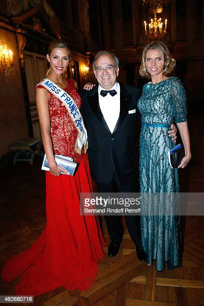 Miss France 2015 Camille Cerf Professor David Khayat and CEO of Miss France Company Sylvie Tellier attend the David Khayat Association 'AVEC' Gala...