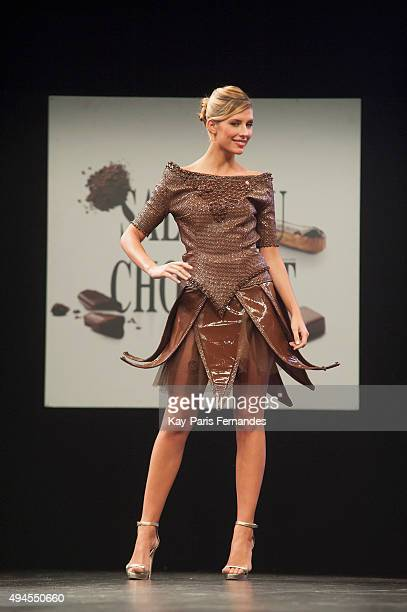 Miss France 2015 Camille Cerf walks the runway during Chocolate fashion show as a part of the Salon Du Chocolat 2015 Chocolate Fair at Parc des...
