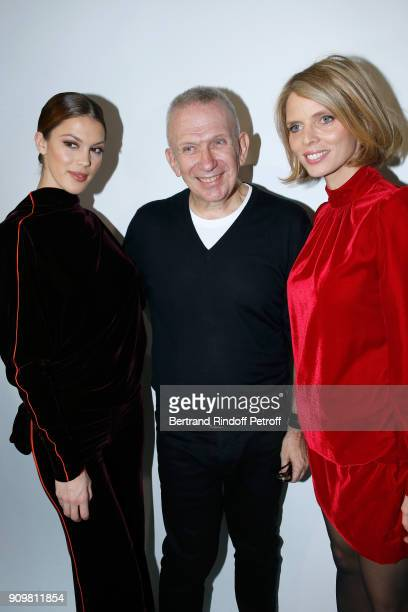 Miss France 2016 and Miss Univers 2016 Iris Mittenaere Stylist JeanPaul Gaultier and CEO of Miss France Company Sylvie Tellier pose after the...