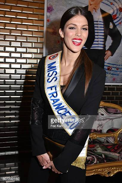 Miss France 2016 Iris Mittenaere attends the Jean Paul Gaultier Spring Summer 2016 show as part of Paris Fashion Week on January 27 2016 in Paris...