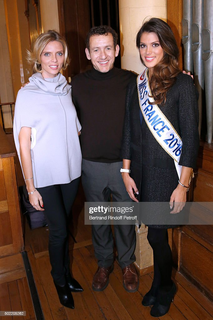 Miss France 2016 Meets Actor Dany Boon On The Set Of The Movie 'Radin' In Paris