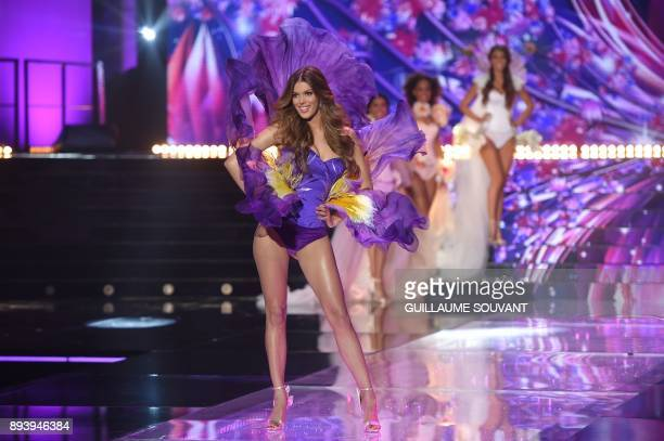 Miss France 2016 Miss Universe 2016 and president of the jury Iris Mittenaere performs during the Miss France 2018 pageant in Chateauroux central...