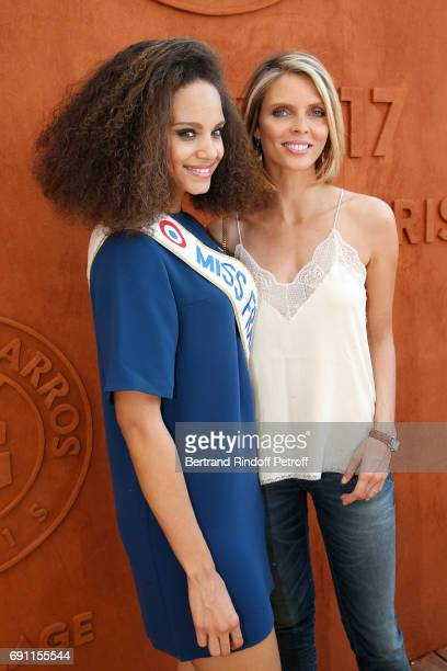 Miss france 2017 Alicia Aylies and CEO of Miss France Company Sylvie Tellier attend the 2017 French Tennis Open Day Five at Roland Garros on June 1...