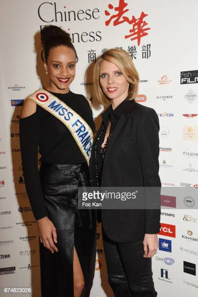 Miss France 2017 Alicia Aylies and Sylvie Tellier attend Chinese Business Club Lunch at Hotel Intercontinental on April 28 2017 in Paris France