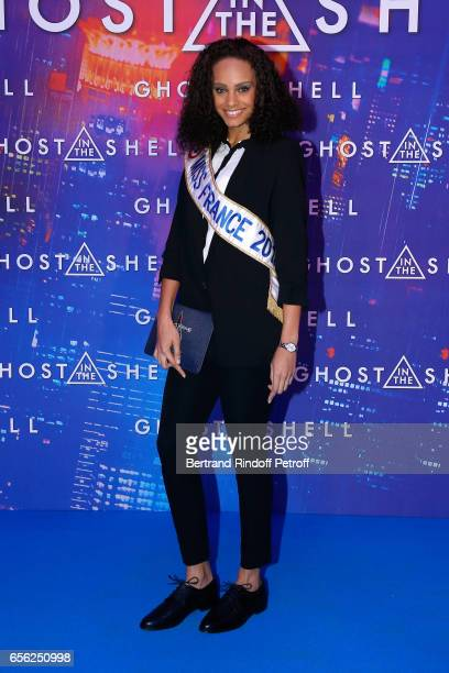 Miss france 2017 Alicia Aylies attends the Paris Premiere of the Paramount Pictures release 'Ghost in the Shell' Held at Le Grand Rex on March 21...