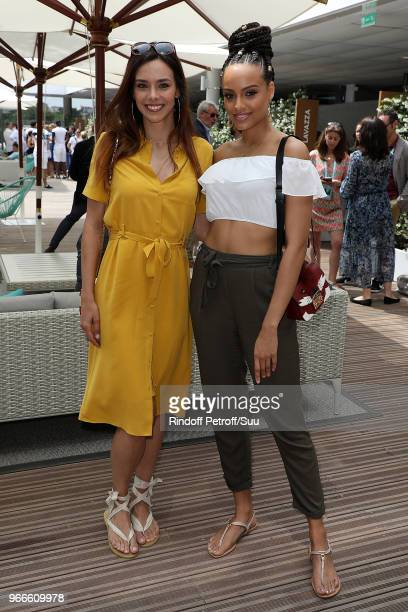 Miss France 2017 Alicia Aylies Miss and France 2013 Marine Lorphelin attends the 2018 French Open Day Eight at Roland Garros on June 3 2018 in Paris...
