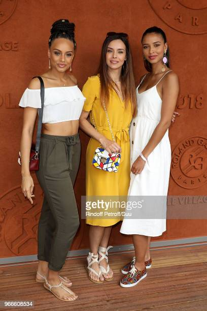 Miss France 2017 Alicia Aylies Miss France 2013 Marine Lorphelin and Miss France 2014 Flora Coquerel attends the 2018 French Open - Day Eight at...