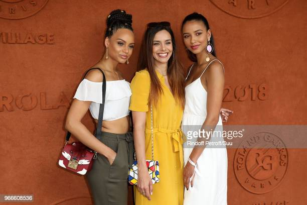 Miss France 2017 Alicia Aylies Miss France 2013 Marine Lorphelin and Miss France 2014 Flora Coquerel attends the 2018 French Open Day Eight at Roland...