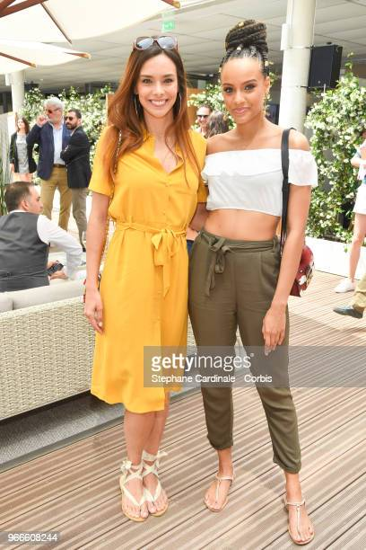 Miss France 2017 Alicia Aylies Miss France 2013 Marine Lorphelin attend the 2018 French Open Day Eight at Roland Garros on June 3 2018 in Paris France