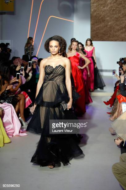 Miss France 2017 Alicia Aylies walks the runway during the Christophe Guillarme show as part of the Paris Fashion Week Womenswear Fall/Winter...
