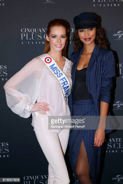 Miss France 2018 Maeva Coucke and Miss France 2014 Flora Coquerel attend the Fifty Shades Freed 50 Nuances Plus Clair Paris Premiere at Salle Pleyel...