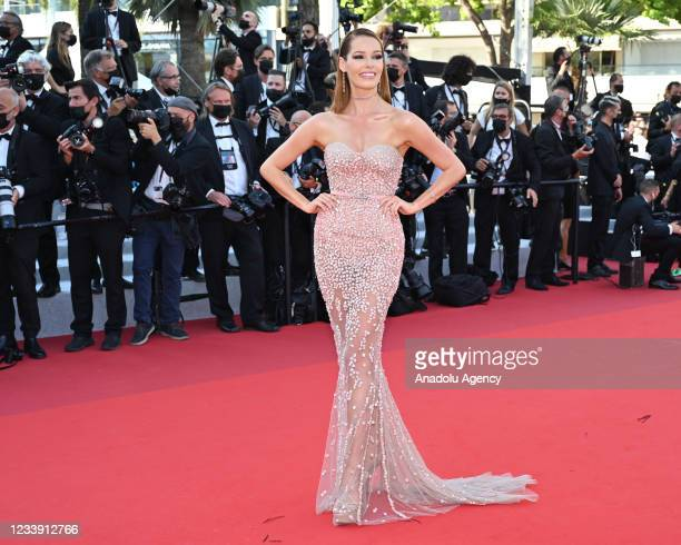 """Miss France 2018 Maeva Coucke arrives for the screening of the film """"De Son Vivant"""" at the 74th Cannes Film Festival in Cannes, France on July 10,..."""