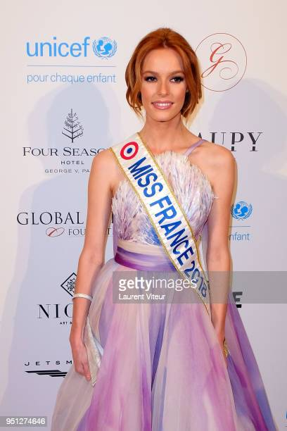Miss France 2018 Maeva Coucke attends 'Global Gift Gala Paris 2018 at Four Seasons Hotel George V on April 25 2018 in Paris France
