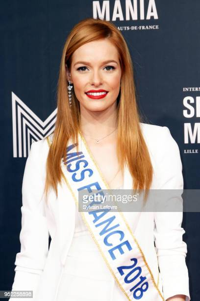 Miss France 2018 Maeva Coucke attends Series Mania Lille Hauts de France Festival's opening ceremony on April 27 2018 in Lille France