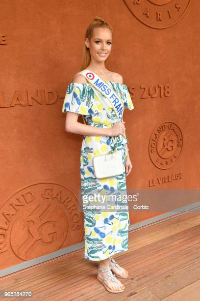 Miss France 2018 Maeva Coucke attends the 2018 French Open Day Six at Roland Garros on June 1 2018 in Paris France