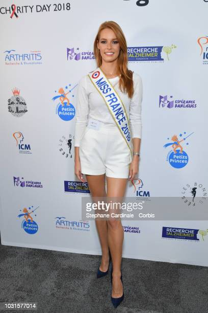 Miss France 2018 Maeva Coucke attends the Aurel BGC Charity Benefit Day 2018 on September 11 2018 in Paris France