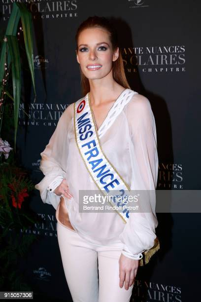 Miss France 2018 Maeva Coucke attends the Fifty Shades Freed 50 Nuances Plus Clair Paris Premiere at Salle Pleyel on February 6 2018 in Paris France