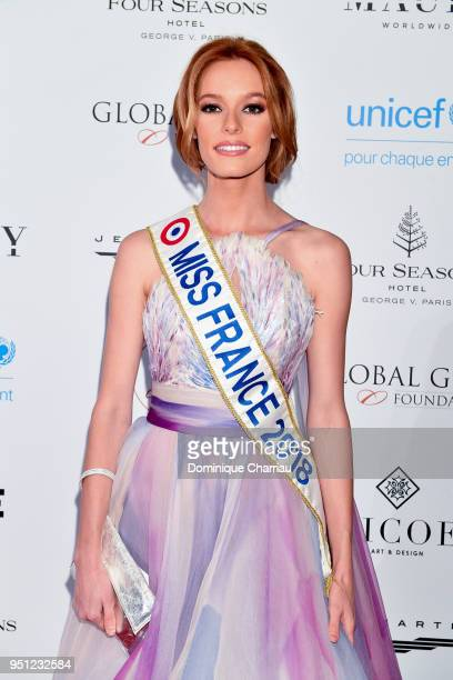 Miss France 2018 Maeva Coucke attends the Global Gift Gala photocall at Four Seasons Hotel George V on April 25 2018 in Paris France